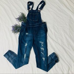 Distressed over-alls